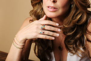 Jackie with rings and bracelets