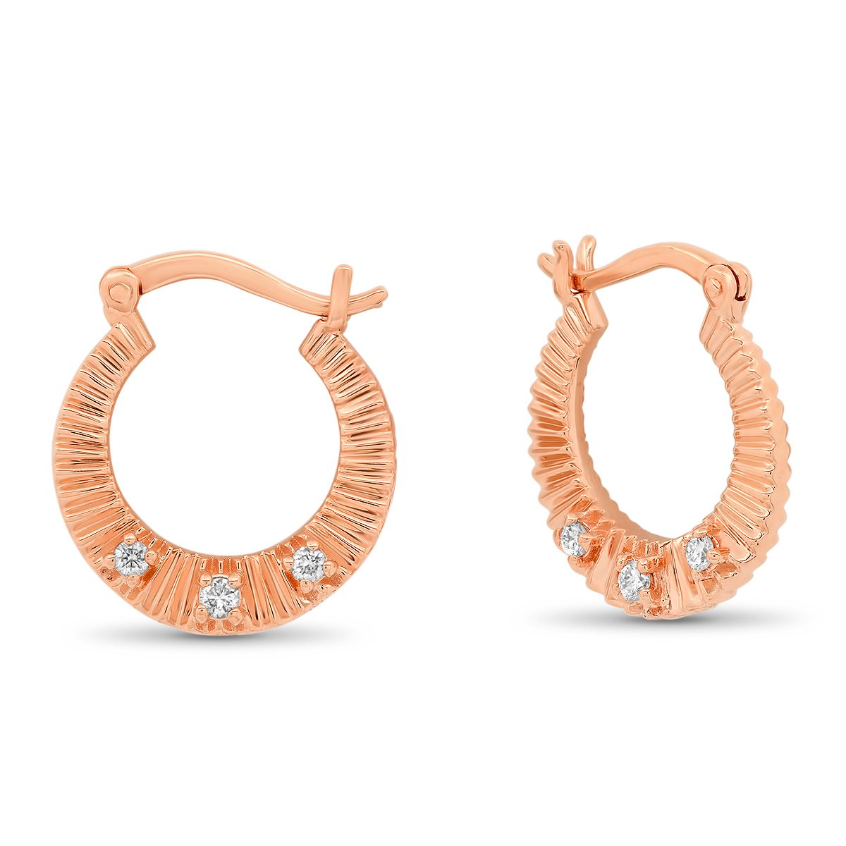 The Ashleigh Bergman Collective X My Story by Jackie Cohen Fluted Diamond Hoop Earrings