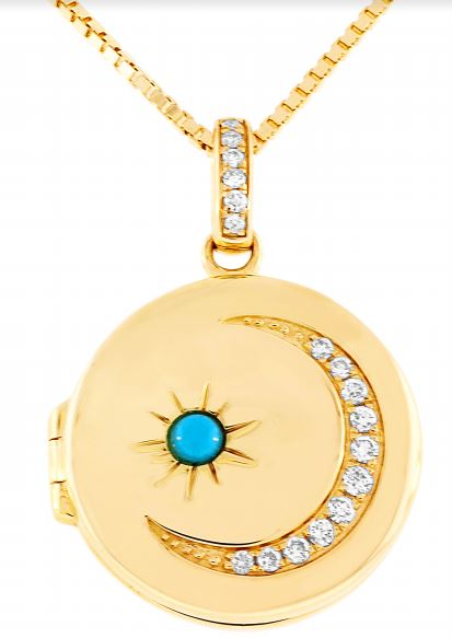 Round locket with diamond crescent moon and turquoise starburst