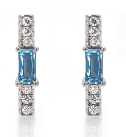 Blue topaz baguette and diamond stick stud/ pair