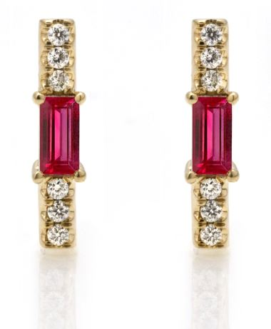 Rub baguette and diamond stick stud/ pair