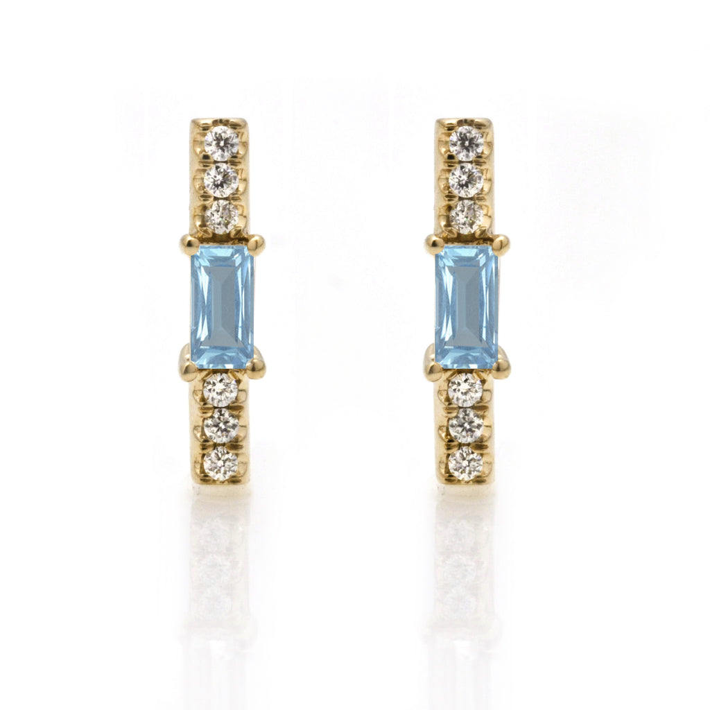 Aquamarine baguette and diamond stick stud/ pair