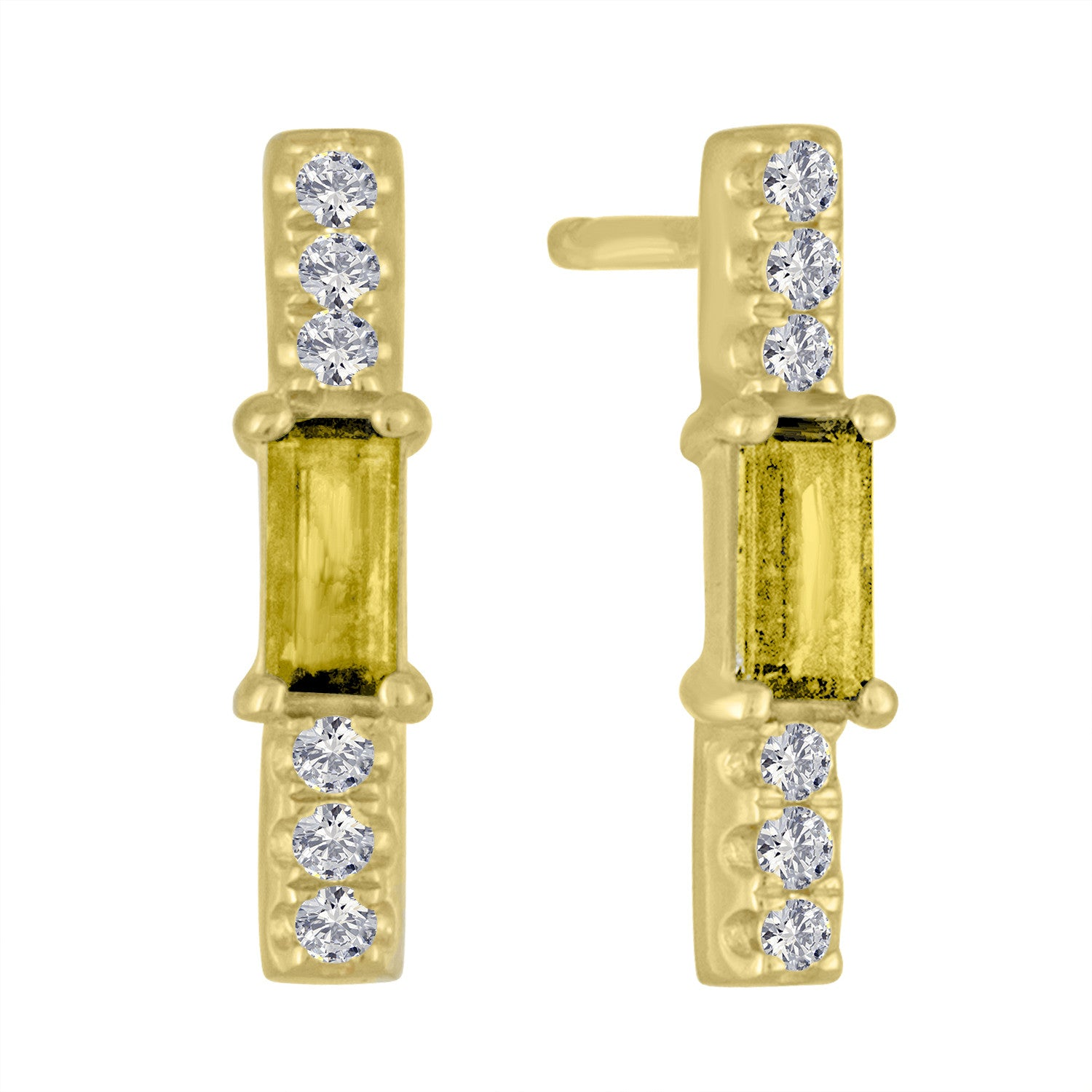 Citrine baguette and diamond stick stud/ pair