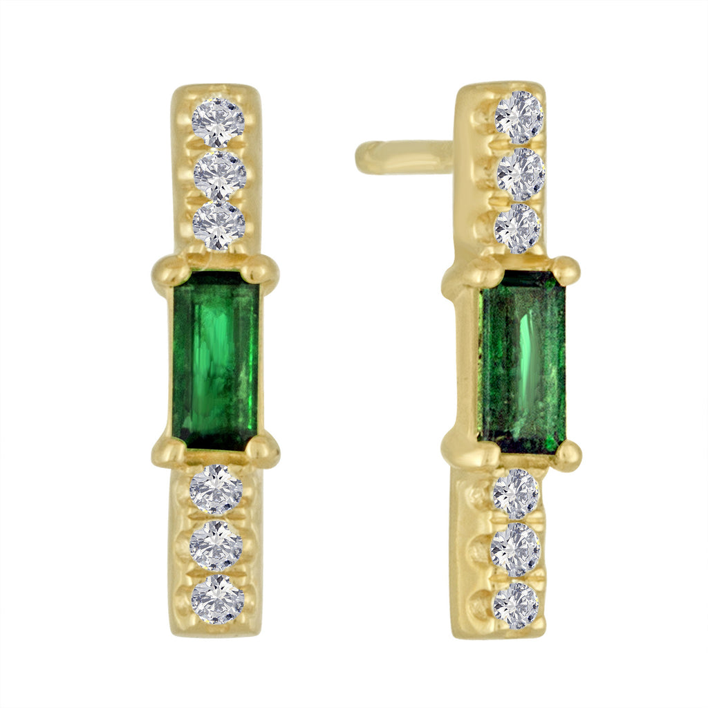 Emerald baguette and diamond stick stud/ pair