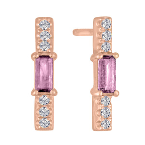 Tourmaline baguette and diamond stick stud/ pair