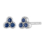 small three sapphire cluster stud/ pair