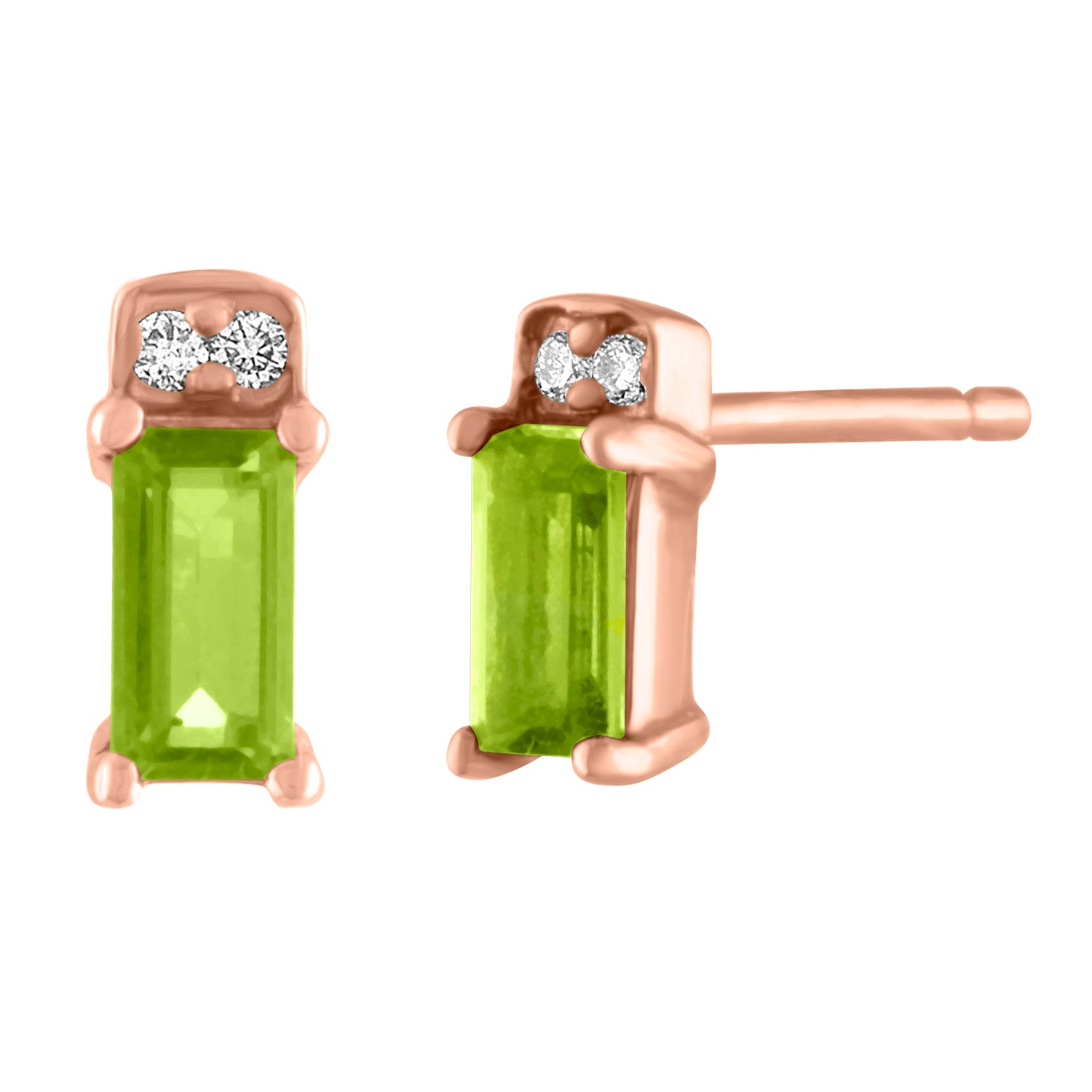 single peridot baguette stud with two round diamonds/ pair
