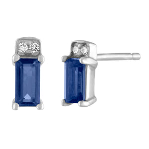 single sapphire  baguette stud with two round diamonds/ pair