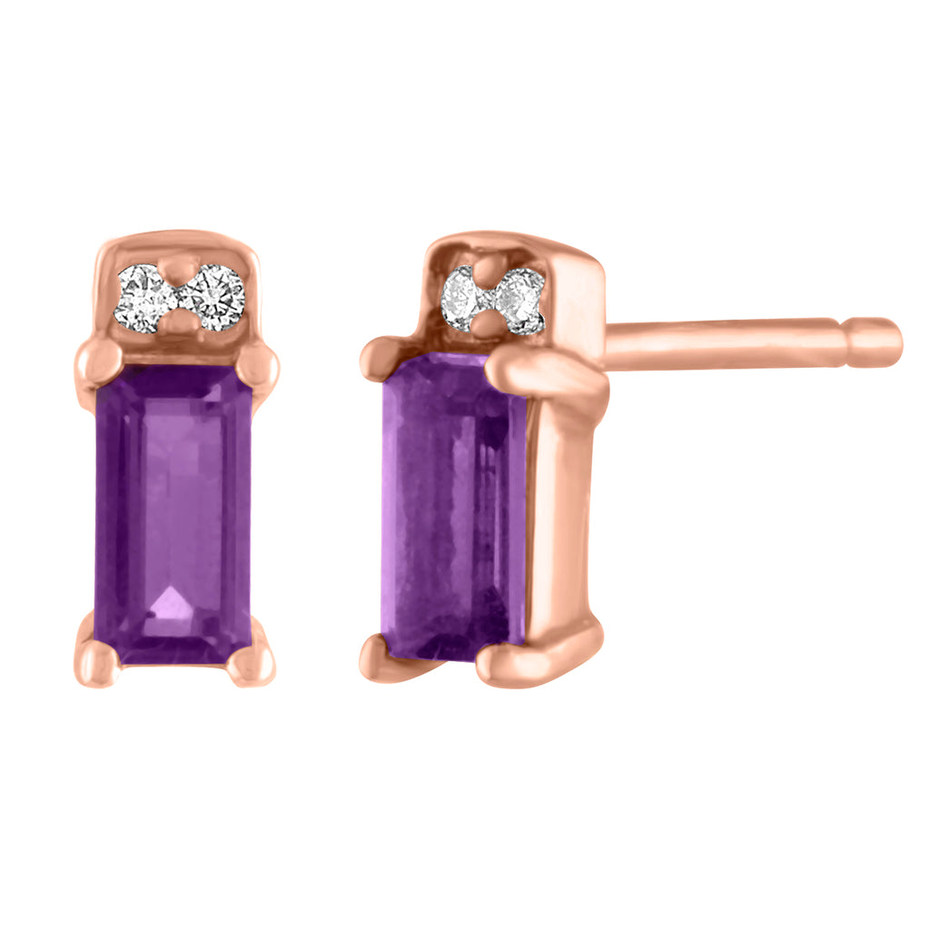 single amethyst baguette stud with two round diamonds/ pair