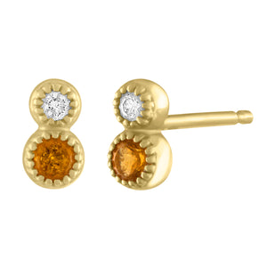 Pair of stacked citrine and diamond stud