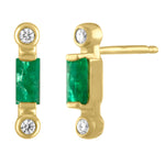 Pair of emerald stud with two diamonds