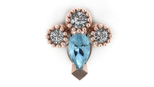 "blue topaz pear shape stone with 3 diamond ""crown"""
