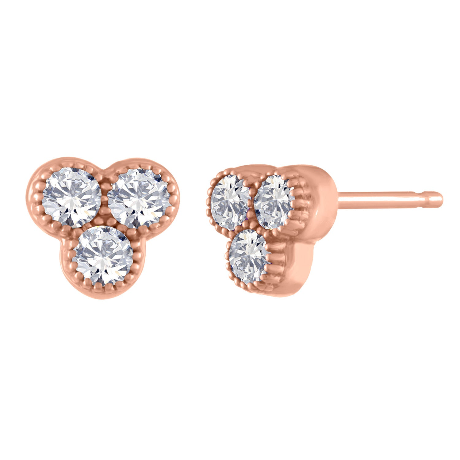 three round diamond cluster stud/ pair