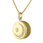 Round locket with diamond crescent moon and opal starburst