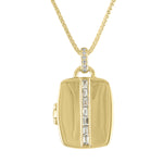 Rectangular locket with 7 diamond baguette center and diamond bail