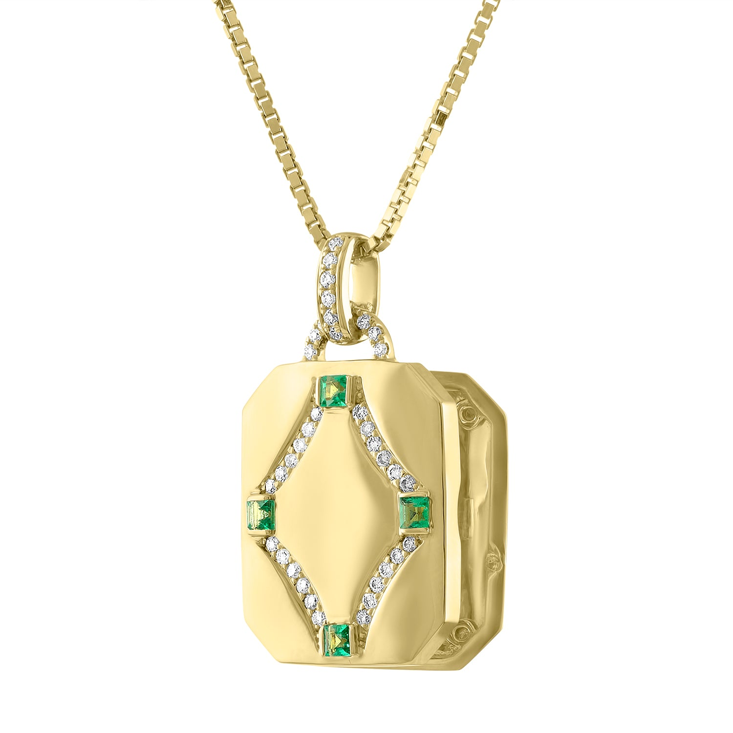 rectangular locket with emerald 4 emerald stones and diamond design in center