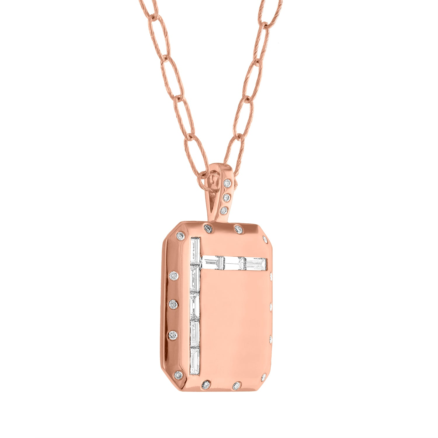 large rectangular pendant with 5 diamond baguettes down and 3 across with small diamond border