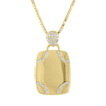 Rectangle locket with diamond design in corners and pave tear drop bail