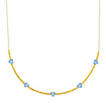 The Pixie Heart Necklace (Yellow Topaz & Blue Topaz)