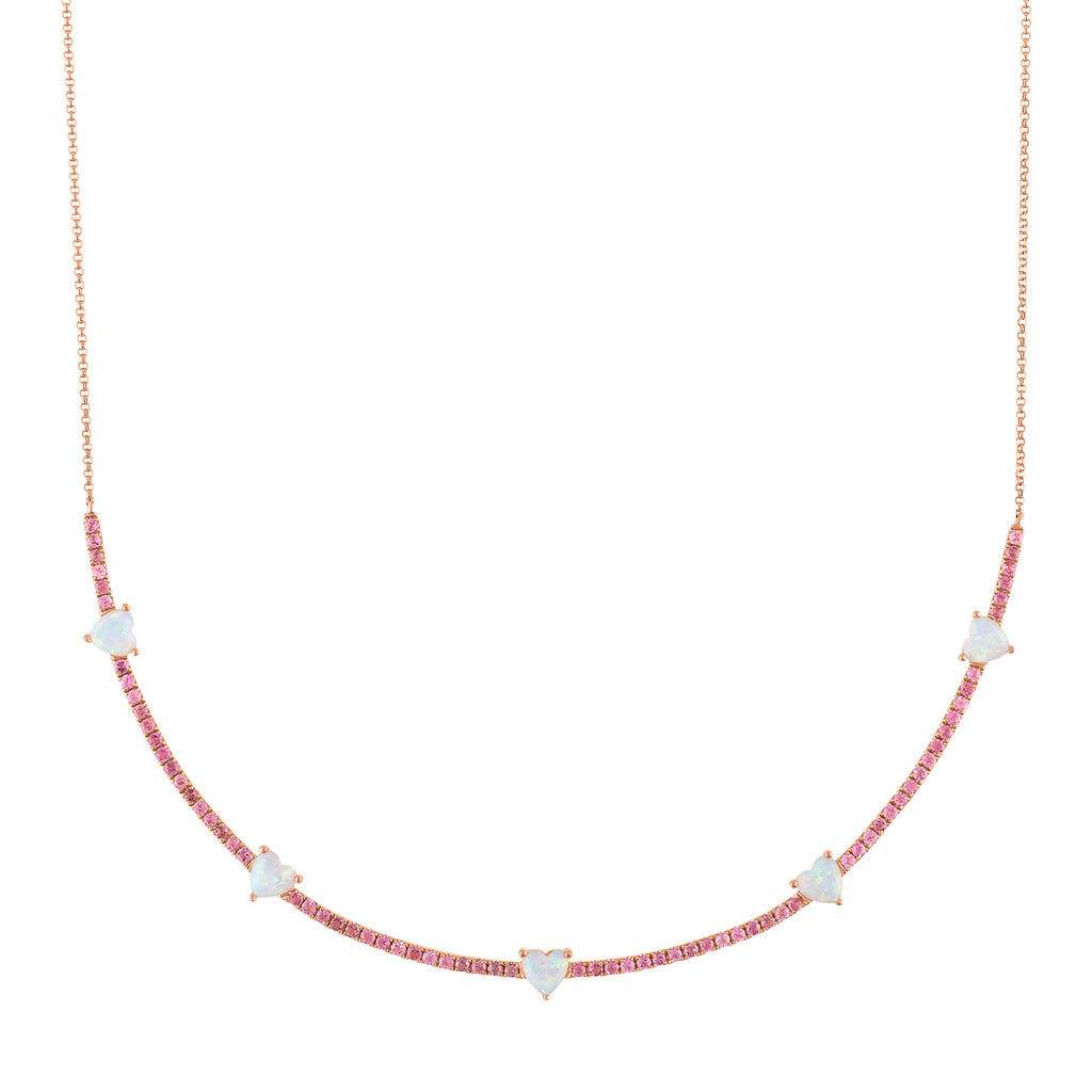 The Pixie Heart Necklace (Tourmaline & Opal)