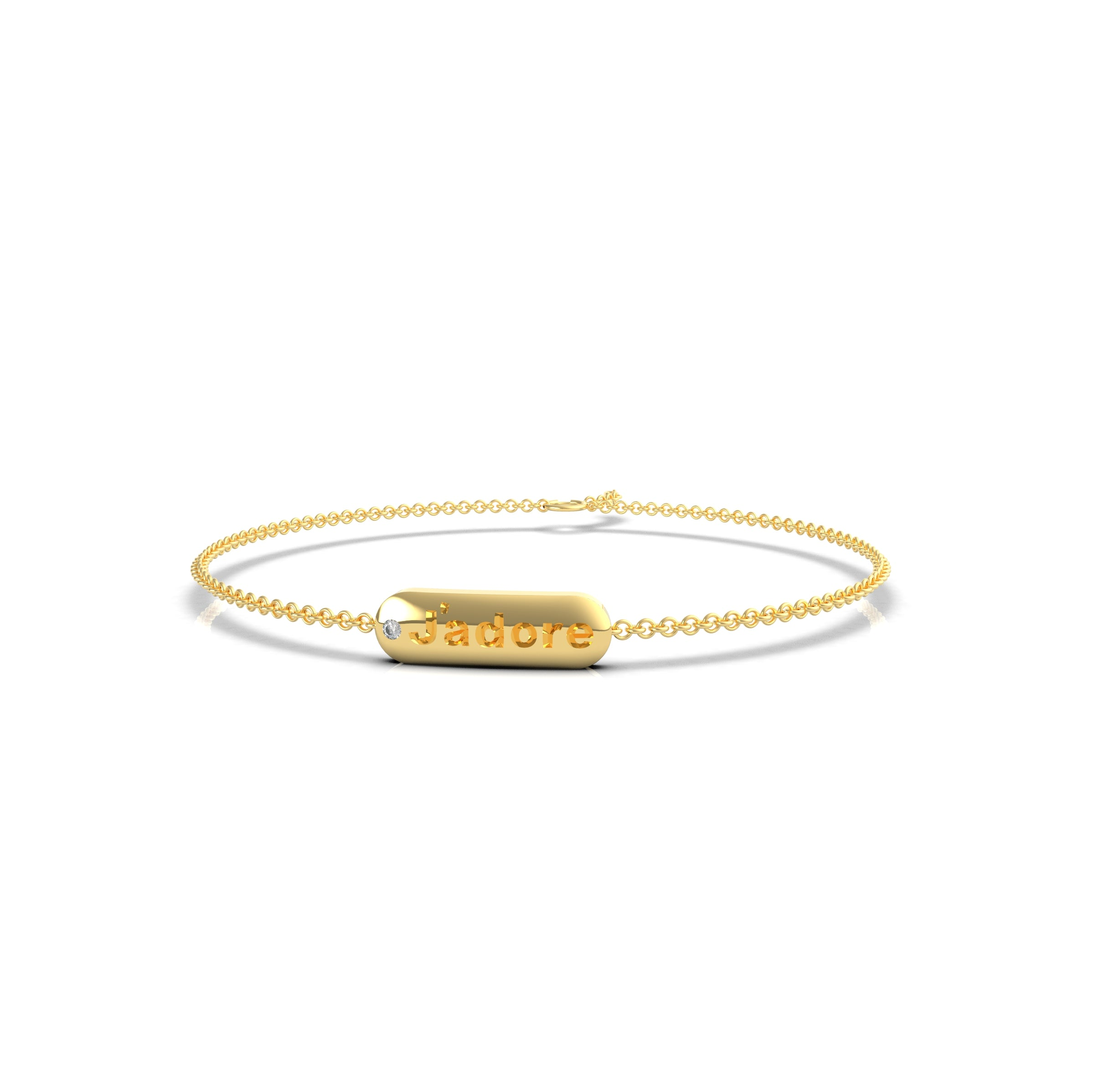 skinny signet bracelet with your mantra and diamond