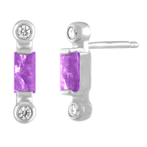 Pair of amethyst baguette stud with two diamonds