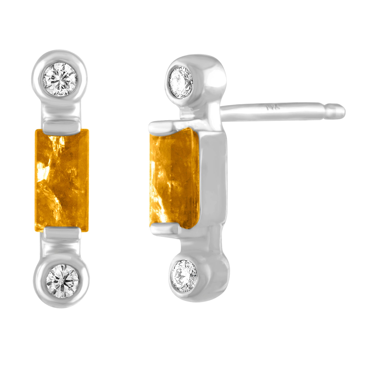 PAir of citrine baguette stud with two diamonds