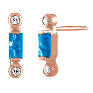 Pair of blue topaz baguette stud with two diamonds