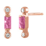 Pair of tourmaline studs with two diamonds