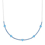 pixie necklace in sapphire with blue topaz hearts