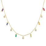 Necklace with colored 6 baguettes alternation with 5 round diamonds
