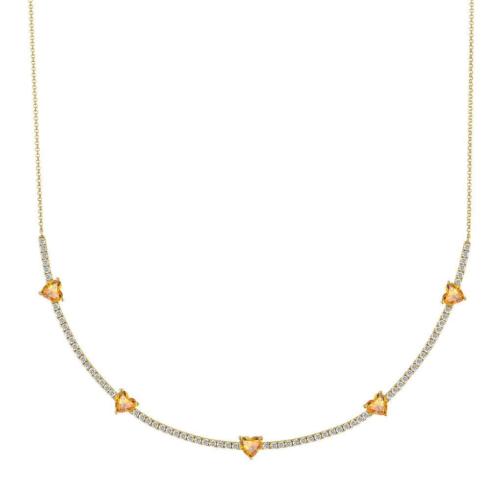 Diamond pixie necklace with citrine hearts