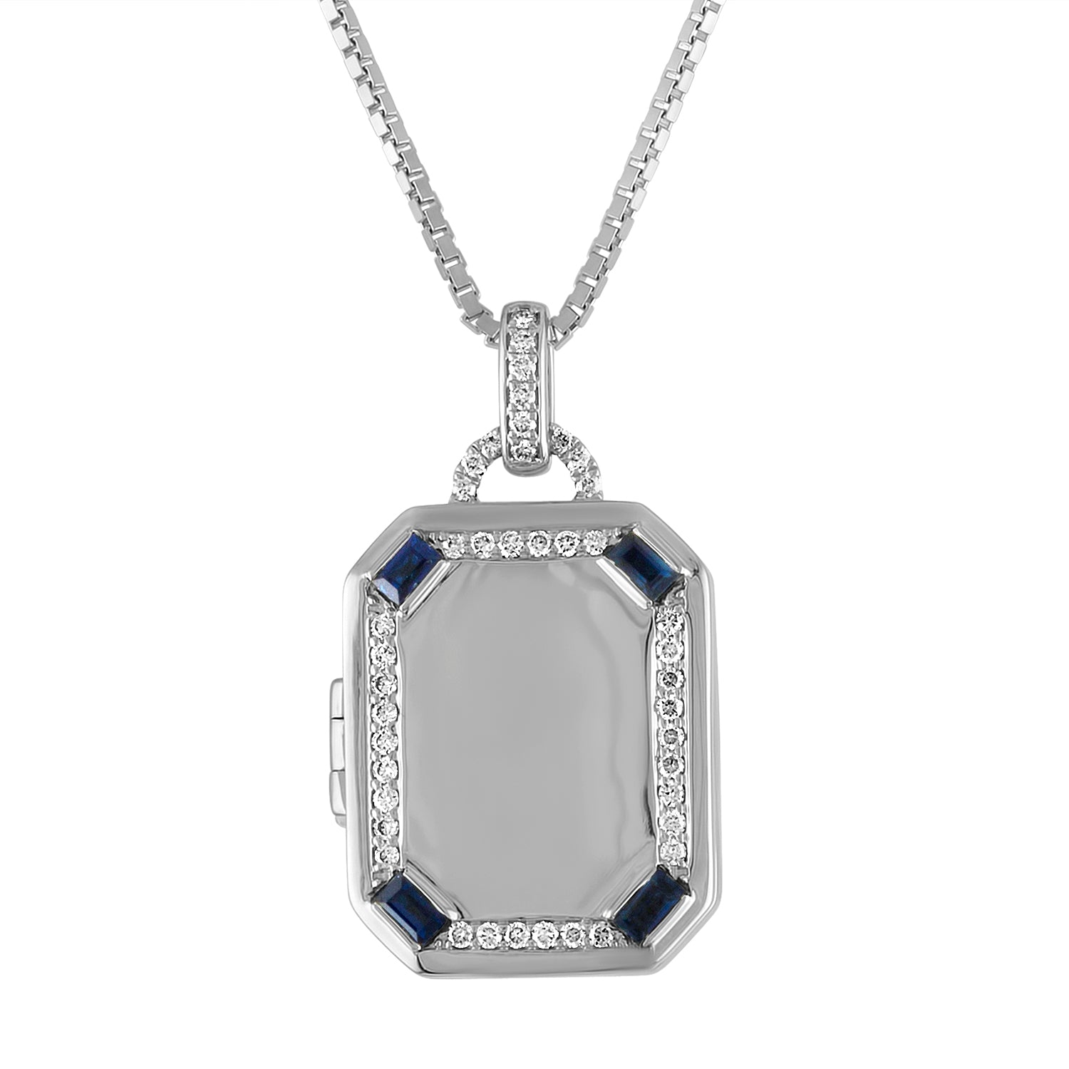 Rectangular locket with diamond border and sapphire baguette corners