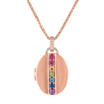 Oval locket with 7 stone rainbow down the center