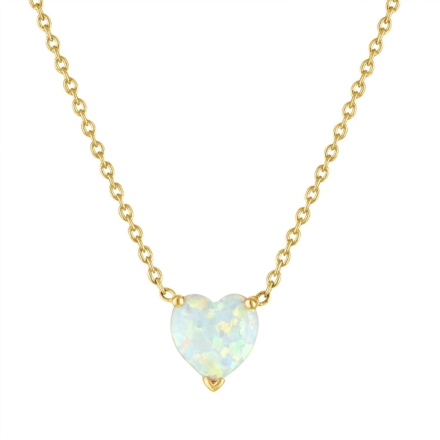 The Zoey Heart Necklace (Opal)