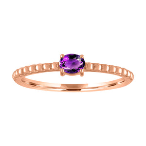 textured band with horizontal oval amethyst