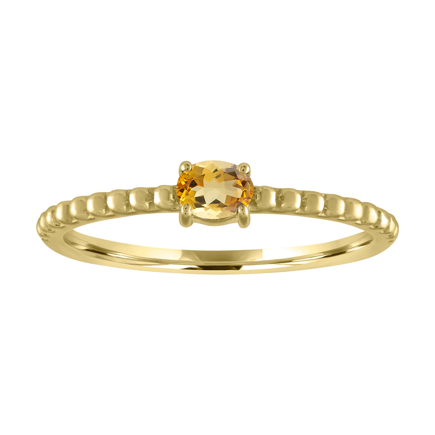 textured band with horizontal oval citrine