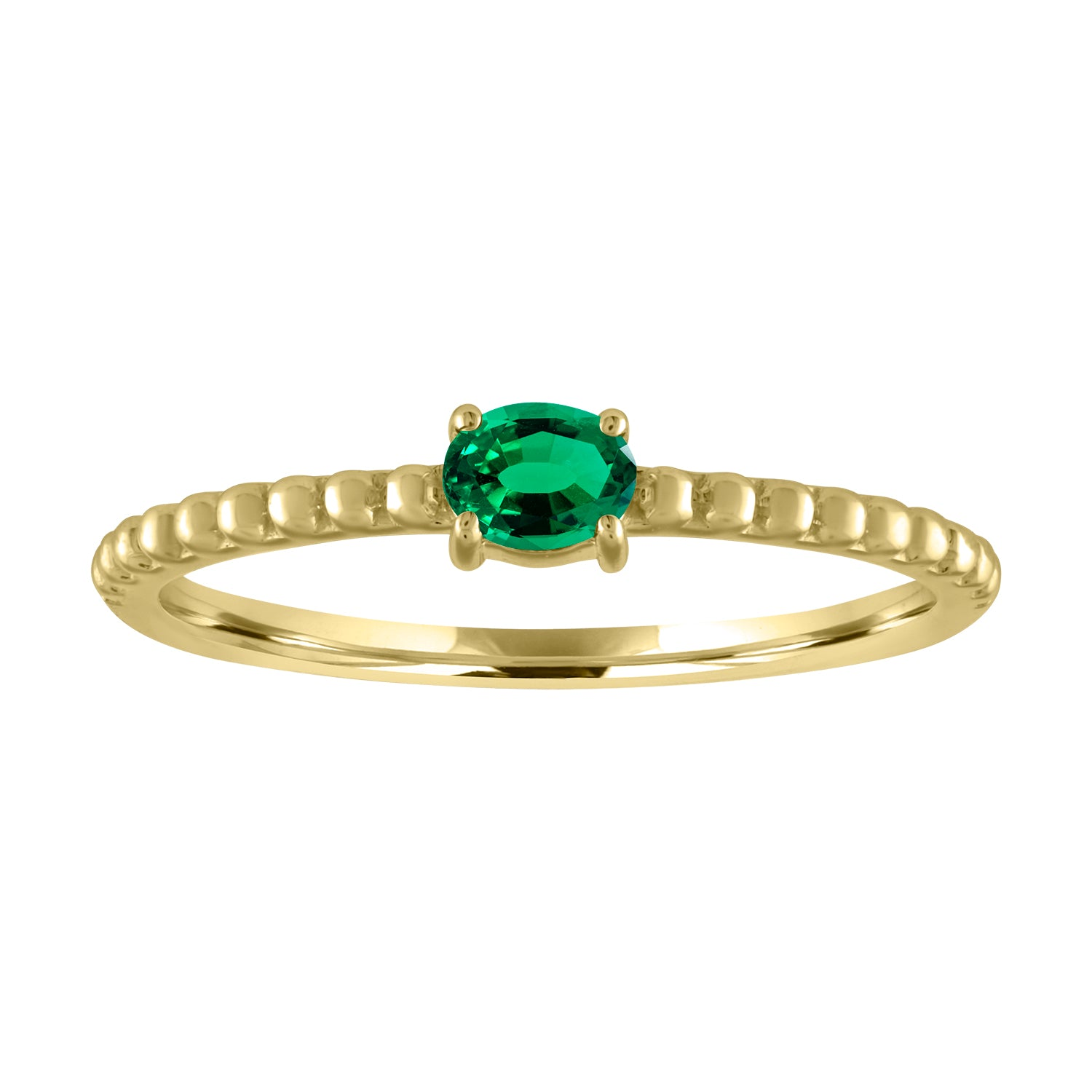textured band with horizontal oval emerald