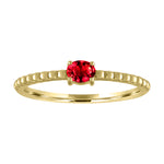 textured band with horizontal oval ruby