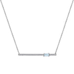 diamond bar pendant with off-center aquamarine baguette