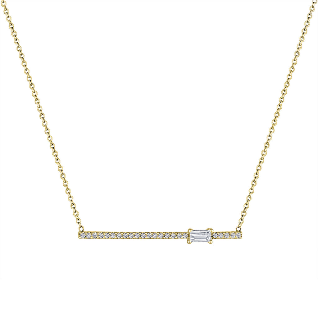 diamond bar pendant with off-center diamond baguette