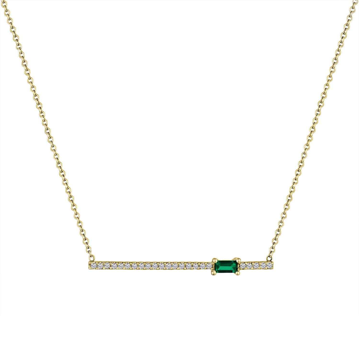 diamond bar pendant with off-center emerald baguette