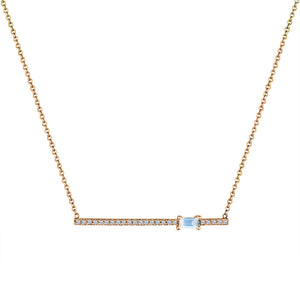 diamond bar pendant with off-center moonstone baguette