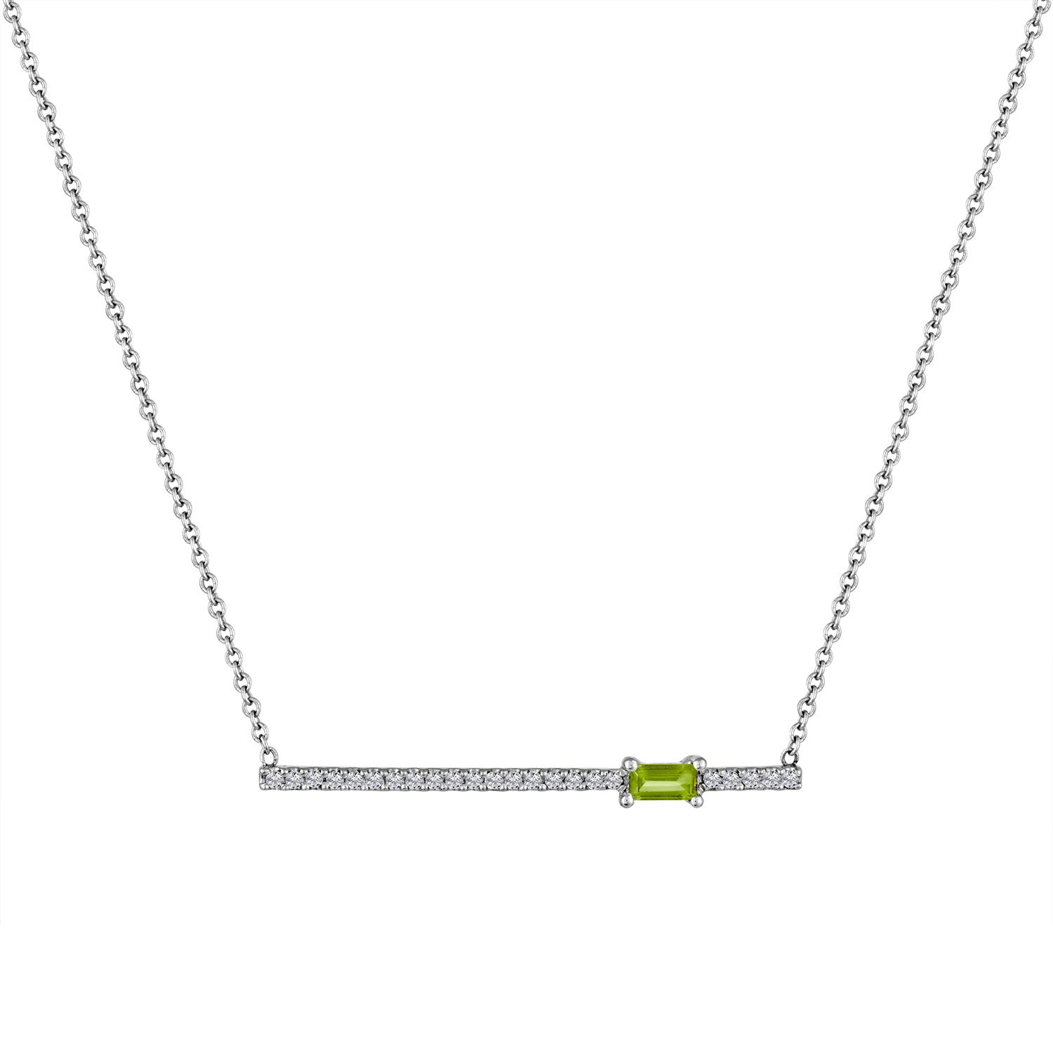 diamond bar pendant with off-center peridot baguette