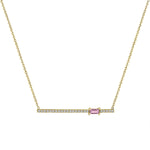 diamond bar pendant with off-center pink tourmaline baguette