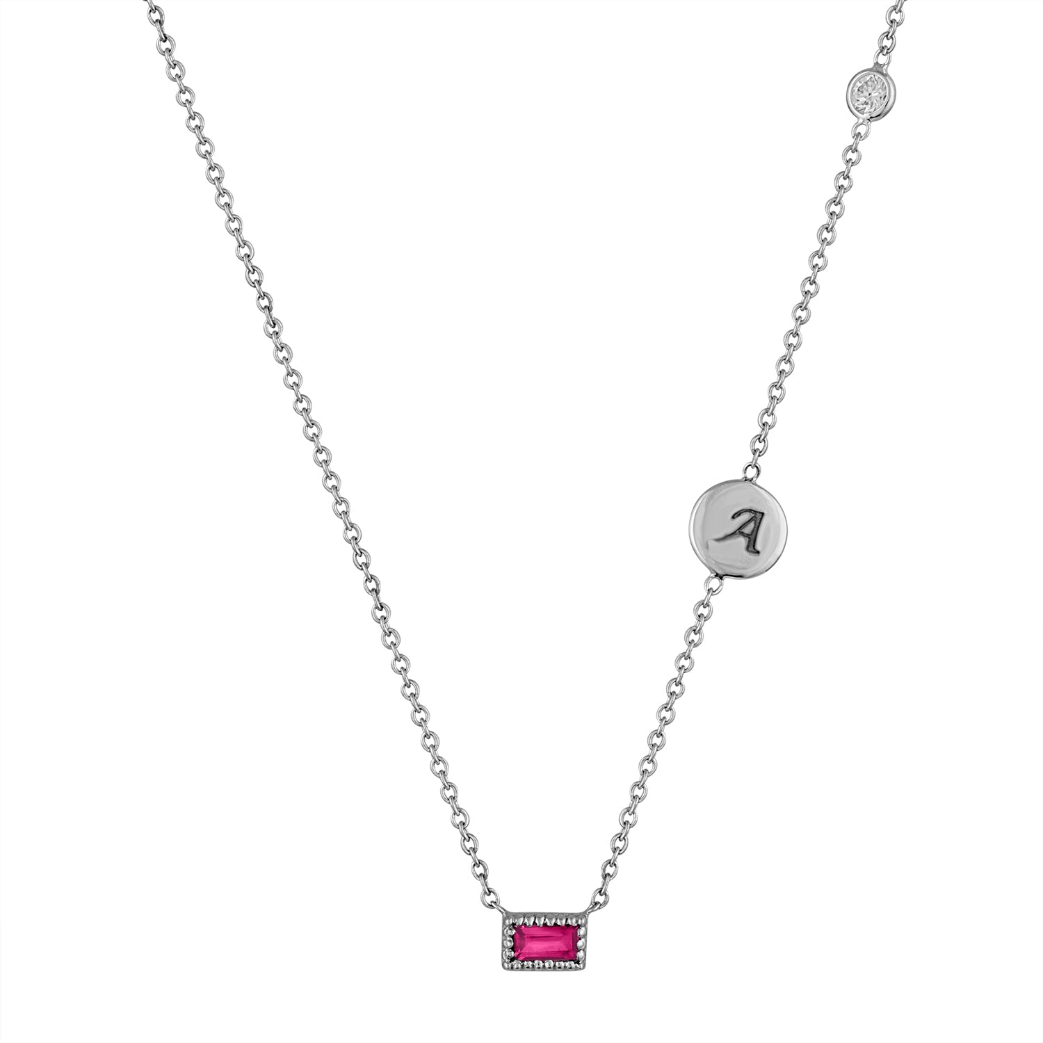 Small single ruby baguette necklace with initial disc and floating diamond