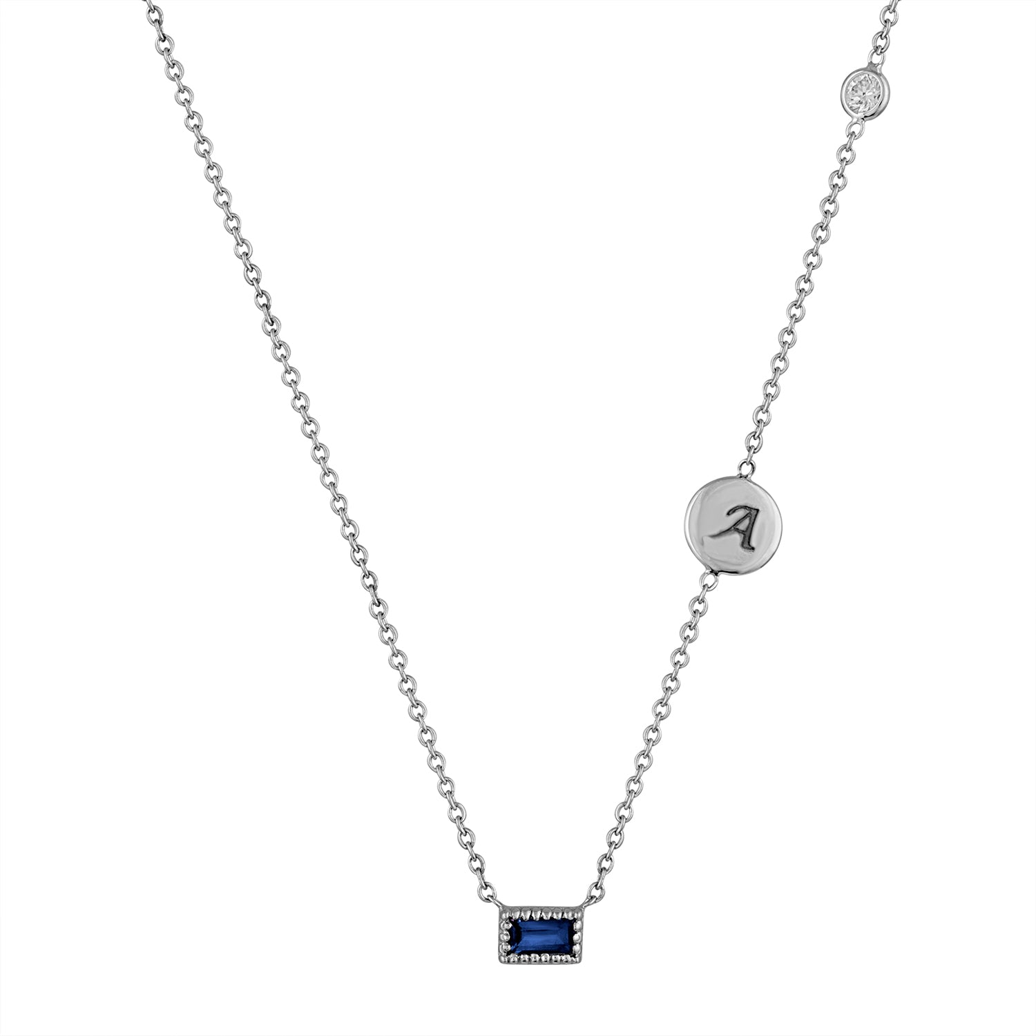 Small single sapphire baguette necklace with initial disc and floating diamond