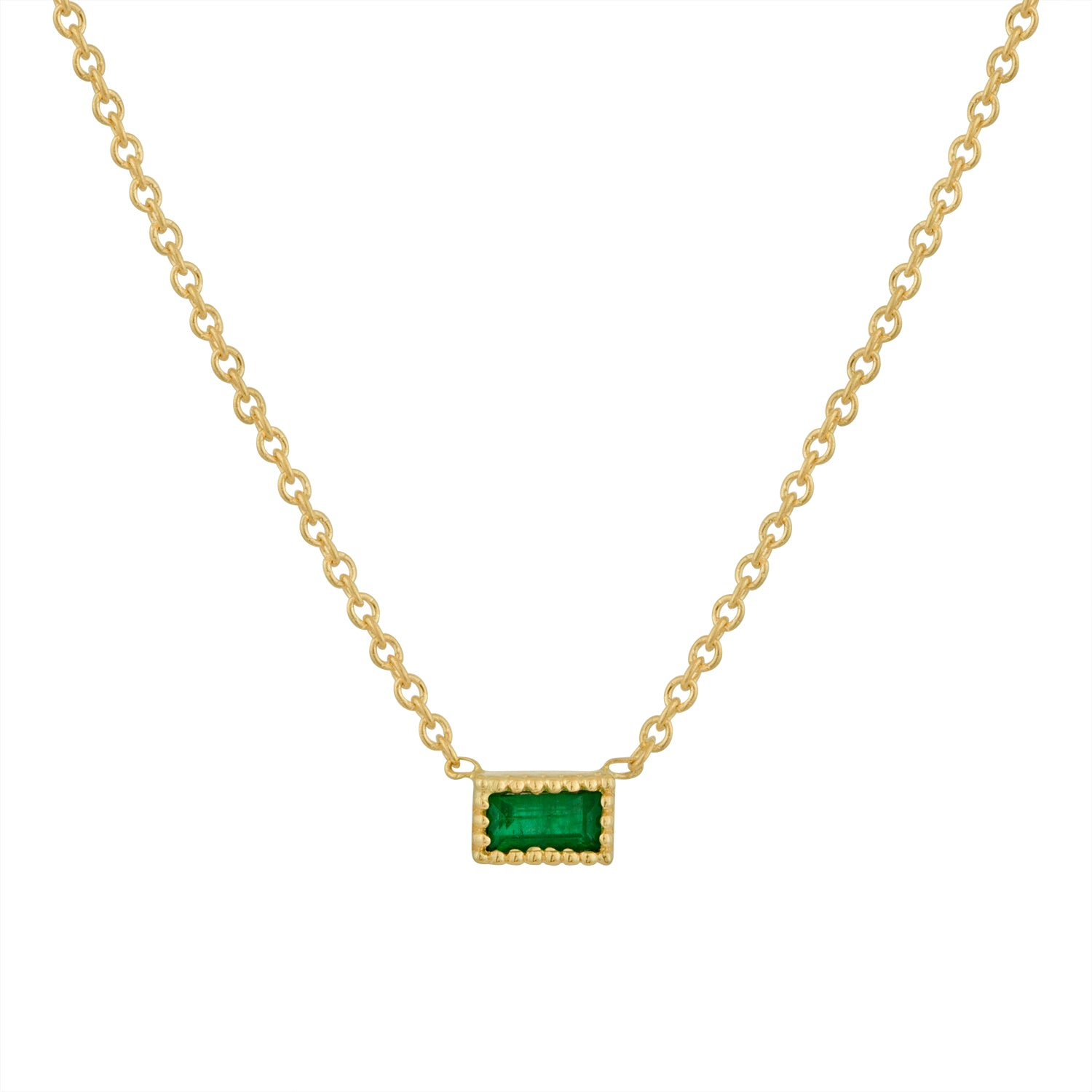 Small single emerald baguette necklace
