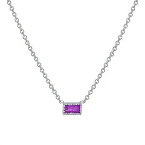 Small single amethyst baguette necklace