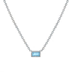 Small single aquamarine baguette necklace